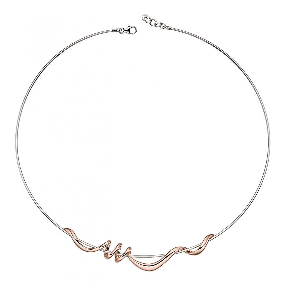 Joshua James Motive Silver & Rose Gold Plated Twist Necklace