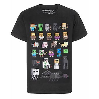 Minecraft T-Shirt For Boys | Kids Sprites Characters Gamer Gifts Merchandise | Childrens Black Short Sleeve Top