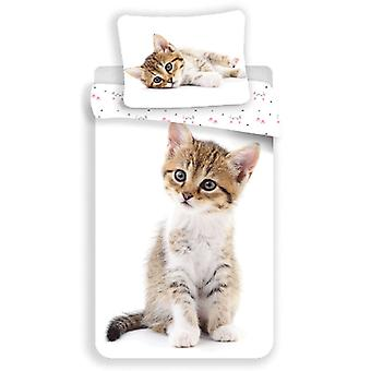 Tabby Kitten White Single Cotton Dekbed Cover Set - Europese maat