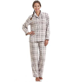 Camille gris et rose damier pleine longueur bouton frontal Wincy Pyjama mis