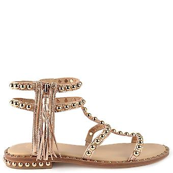 Ash POWER Sandals Rose Gold Leather & Studs