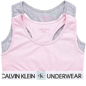 Calvin Klein Girls 2 Pack MINIGRAM Bralette, Unique / Heather Grey, Age 10-12