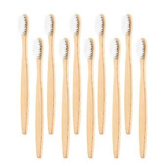 10x Bamboo Toothbrush - White