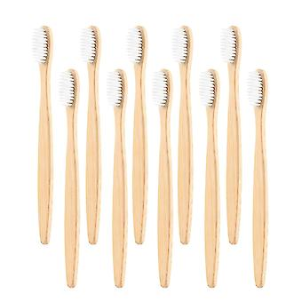 10x bambus tannbørste - hvit