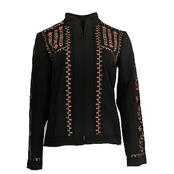 Dennis Basso Women's Coat Embroidered Luxe Crepe Crop Jacket Black A311282