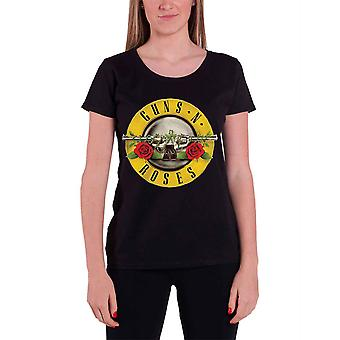 Guns N Roses T Shirt Classic Bullet Logo Official Womens New Black Skinny Fit