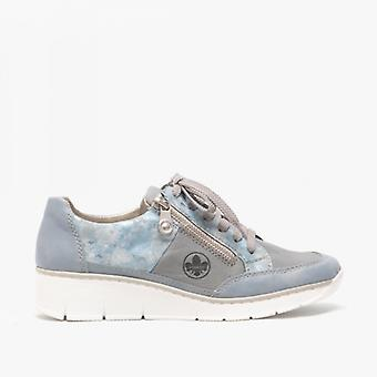 Rieker 53716-12 Dames Casual Trainers Blauw/multi
