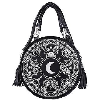 Restyle - henna white round bag - moon embroidery bag