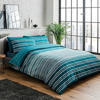 Textured Stripe Teal Bedding Set