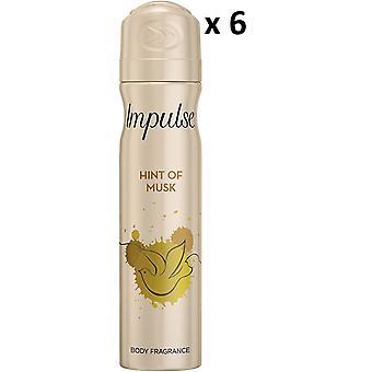 6 x Impuls Deodorant Body Spray 75Ml - Hauch von Moschus