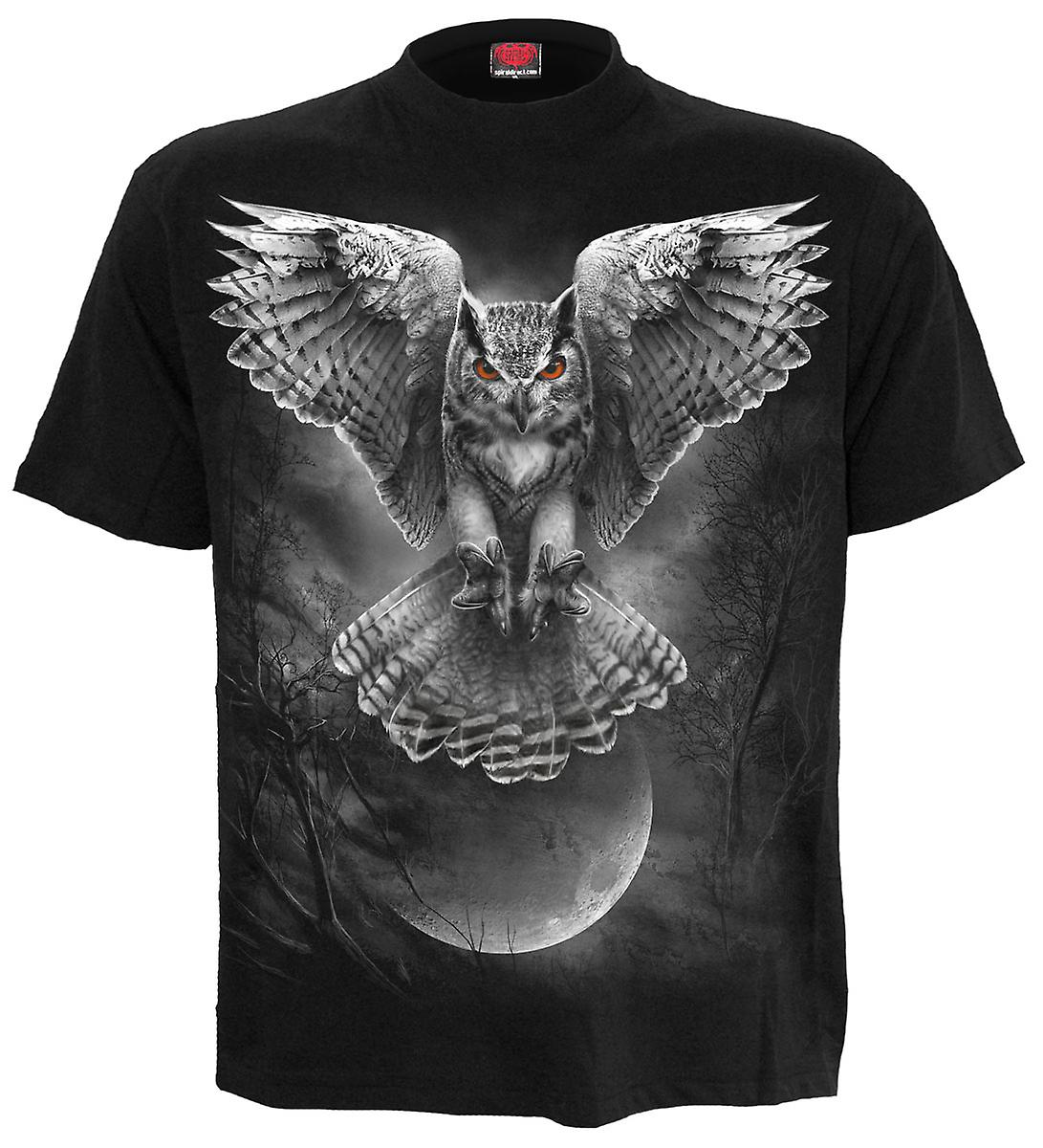Spiral Direct Gothic WINGS OF WISDOM - T-Shirt Black|Owl|Fashion|Moon|Forest