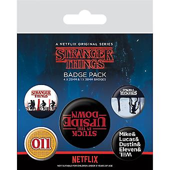 Stranger Things Upside Down Pin Button Badges Set