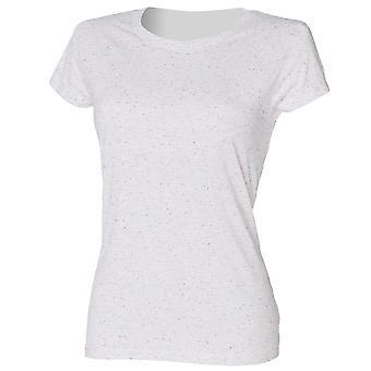 Skinni Fit Ladies/Womens Long Line Length Fleck T-Shirt