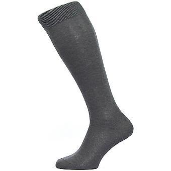 Pantherella Sackville Flat Knit Over the Calf Cotton Lisle Socks - Dark Grey Mix