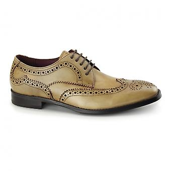 Azor Lugano Mens Derby In pelle Brogues Tan