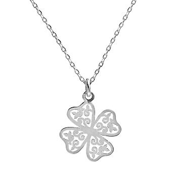 Ah! Jewellery Sterling Silver Open Work Clover Necklace, Stamped 925
