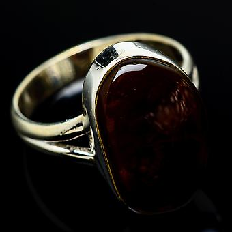 Mexican Fire Agate Ring Size 9 (925 Sterling Silver)  - Handmade Boho Vintage Jewelry RING7788