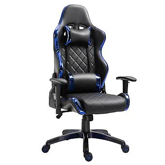 Vinsetto Holographic Stripe Gaming Chair Ergonomic Design PU Leather High Back 360° Swivel w/ 5 Wheels 2 Pillows Back Support Racing Chair Black&Blue