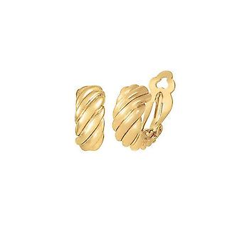 Eternal Collection Mirage Classic High Gloss Gold Tone Half Hoop Clip On Pendientes