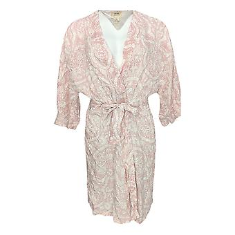 Natural Impressions Women's Robe Printed Belted Pink