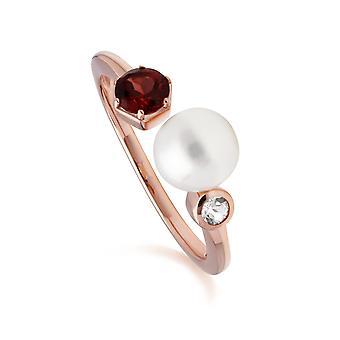 Modern Pearl, Garnet & Topaz Open Ring in Rose Gold Plated Sterling Silver  270R058807925