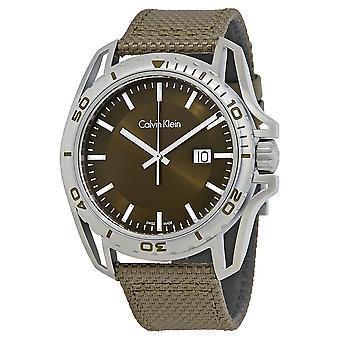 Calvin Klein K5Y31XWL Earth Green Dial Nylon Men's Watch