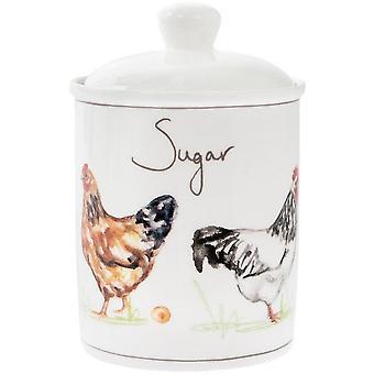Country Chickens Ceramic Sugar Jar