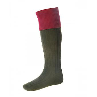 House of Cheviot Country Socks Lomond ~ Spruce & Brick Red