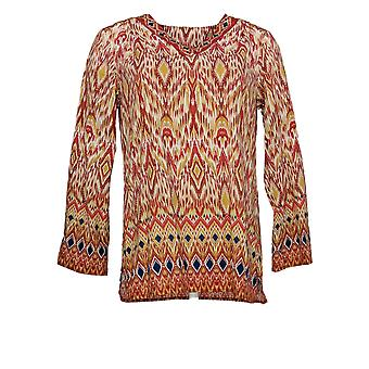 Belle by Kim Gravel Women's Top Ikat Print Stretch V-Neck Red A347154