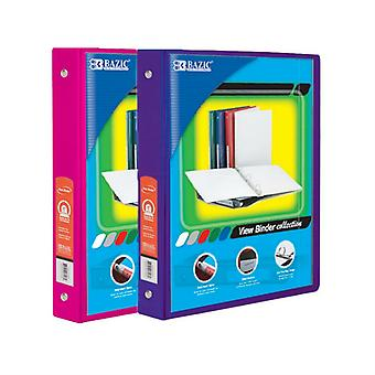 Combo57, BAZIC 1 Inch 3-Ring View Binder with 2-Pockets (Case pack of 24 consist 12-Fuschia & 12-Purple)