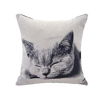 AK365D, Gray Sleeping Cat Cotton Jacquard Printed Decorative Toss Throw Accent Pillow by Danya B.
