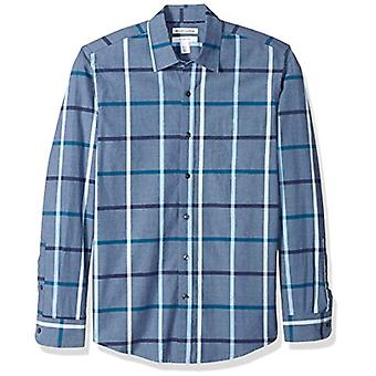 Essentials Men's Slim-Fit Long-Sleeve Casual Poplin Shirt, Denim, XX-L...