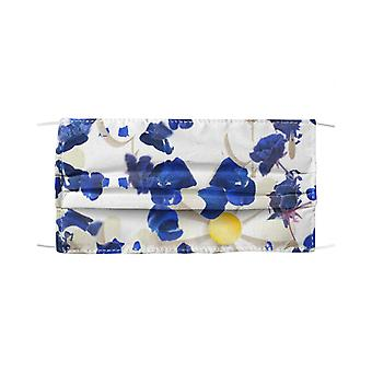 White daisies and blue cyclamens mask