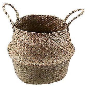 Seagrass Folding Handmade Straw Laundry Basket - Flowerpot Planter Wicker