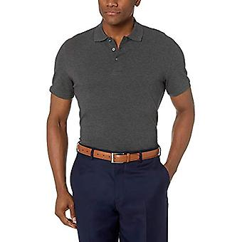 BUTTONED DOWN Men's Slim-Fit Supima Cotton Stretch Pique Polo Shirt, Charcoal Heather, Medium
