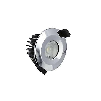 LED Low Profile IP65 Fire Rated Downlight Recessed Spotlight 6W 3000K 430lm Dimmable Polish Chrome IP65