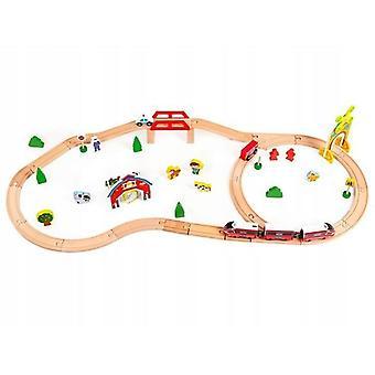 Conjunto de trem de madeira com 53 peças multicoloridas, incluindo locomotiva alimentada por bateria e vagões