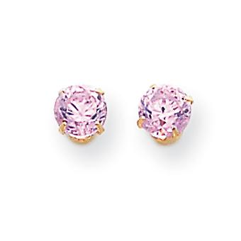 14k Yellow Gold Polished Prong set 5mm Pink CZ Cubic Zirconia Simulated Diamond Post Earrings Measures 5x5mm Jewelry Gif