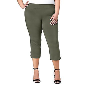 JM Collection | Plus Size Cut Out Hem Cropped Pants