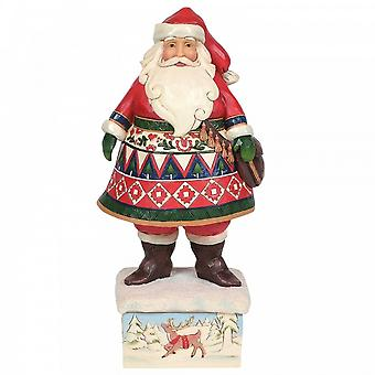 Jim Shore Heartwood Creek Lapland Santa On Base - Feeling Festive In Frost