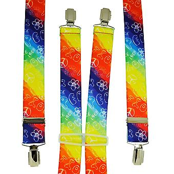 Krawatten Planet Regenbogen farbige Liebe & Frieden 1969 Männer's Hosenträger
