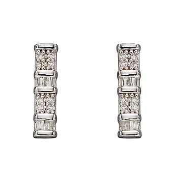 Elements Gold 9ct Baguette Bar Ear White Gold Earrings GE2356