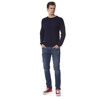 Trussardi Jeans U Blue Crew Neck Slim Fit Sweater