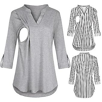 Women Maternity Long Sleeve Clothes Striped V Neck  Nursing Blouse