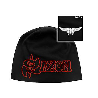 Saxon Beanie Hat Cap Wheels Of Steel Eagle band Logo Official New Black One Size