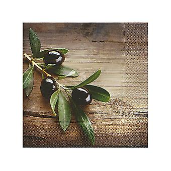 Topi Napkins Olives In A Wood x 20 LN0848