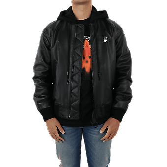 OFF WHITE Ow Logo Leather Bomber Black OMJA034E20LEA0011001Outerwear
