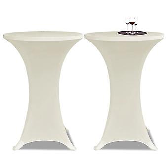2 x Крышка стола для барного стола стрейч-покрытие Ø80 см крем