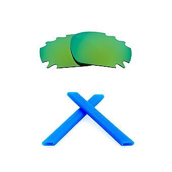استبدال العدسات & كيت ل Oakley تنفيس سباق سترة مرآة خضراء & الأزرق المضادة للخدش المضادة للوهج UV400 من قبل SeekOptics