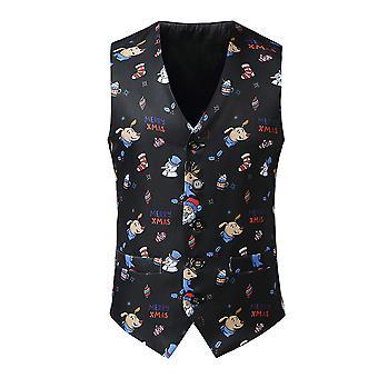 YANGFAN Mens Christmas Print Fashion Suit Vest Casual V-Neck Slim Fit Waistcoat
